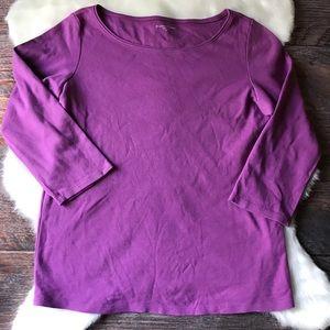 Eileen Fisher casual knit top 3/4 sleeve purple